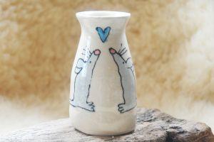 Cream Mouse Vase