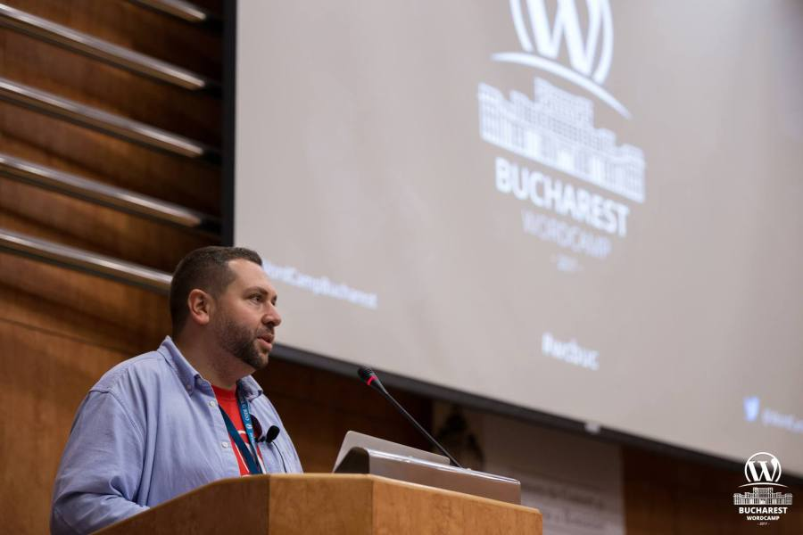 Bogdan Fireteanu lead organizer @ WordCamp Bucharest 2017