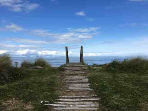 Steps to Findhorn beach in the Summer 2017