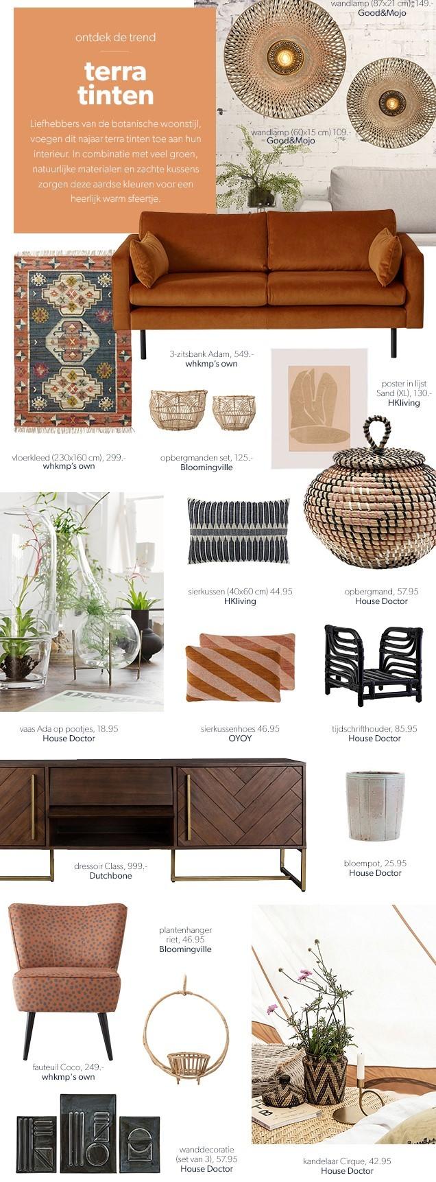 Woontrends herfst 2020, meubelen afgebeeld in terra tinten - Botanische woonstijl