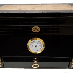 Ebony and Bird Eye Maple Inlay Humidor w-Accessory drawer 50 to 75ct