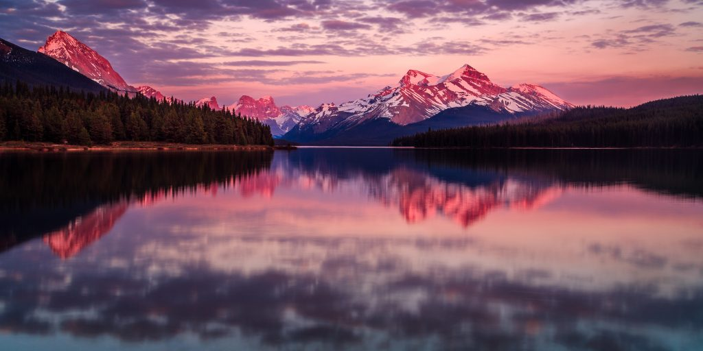 Sunset at Maligne Lake in Jasper National Park, Canada