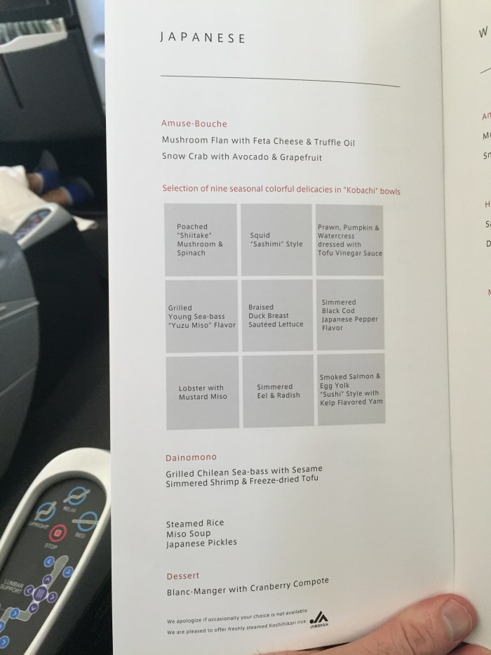 jal 787 menu Asian