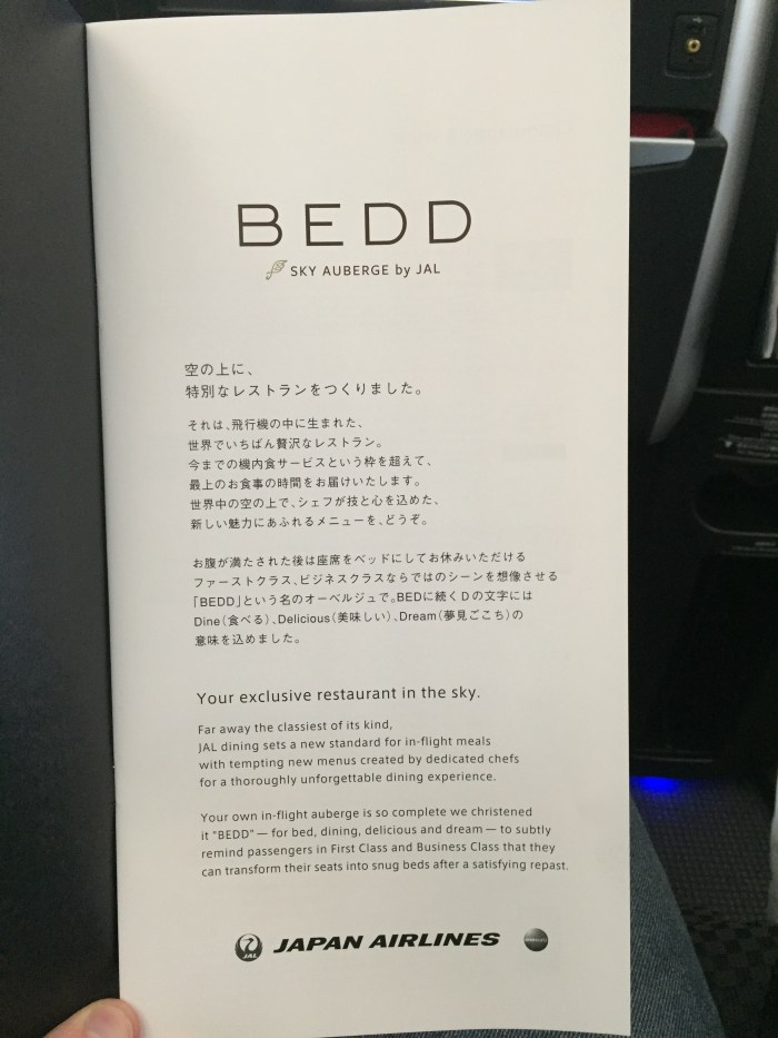 jal 787 menu cover