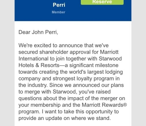 Marriott and Starwood Deal Moving On