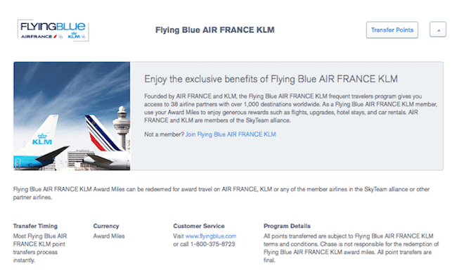 Air France Chase Ultimate Rewards