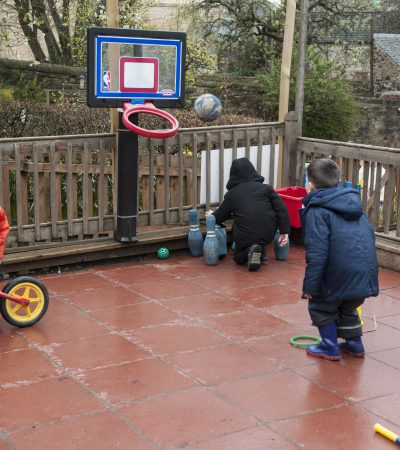 children playing basketball and skittles