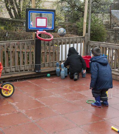 children playing basketball and skittles
