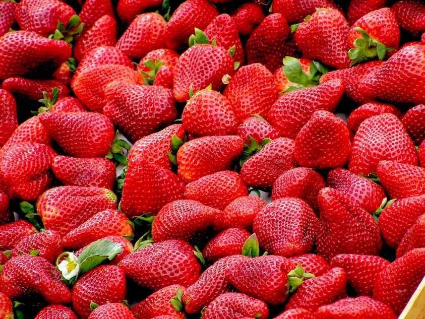 red strawberries fruit