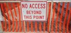 No Access sign on seawall due to Hurricane Sandy damage
