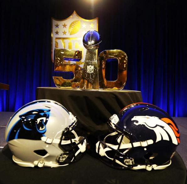 Super Bowl 50 helmets