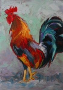 painting of a rooster crowing