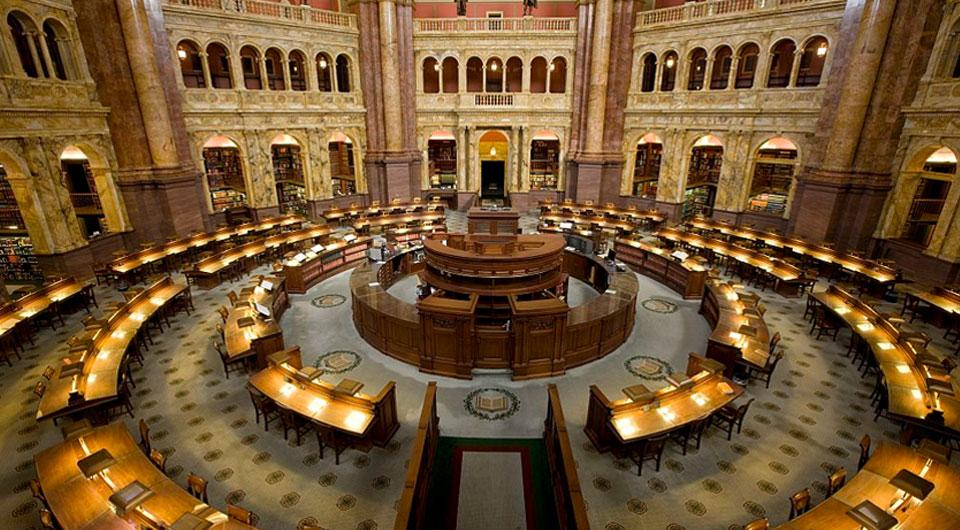 Reading room in the Library of Congress Jefferson Building. Source: https://www.house.gov/the-house-explained/legislative-branch-partners