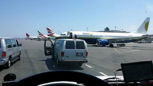 van outside airport