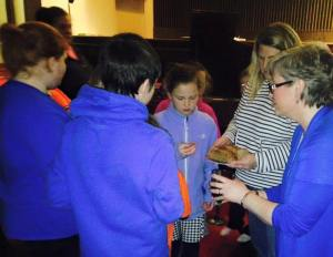 Communion at the Mock-Lock-In for our youngest youth!