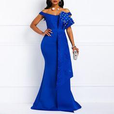 Blue Sexy Off Shoulder Evening Dress Long Luxury Mermaid…