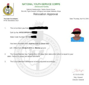 NYSC Relocation Letter Sample