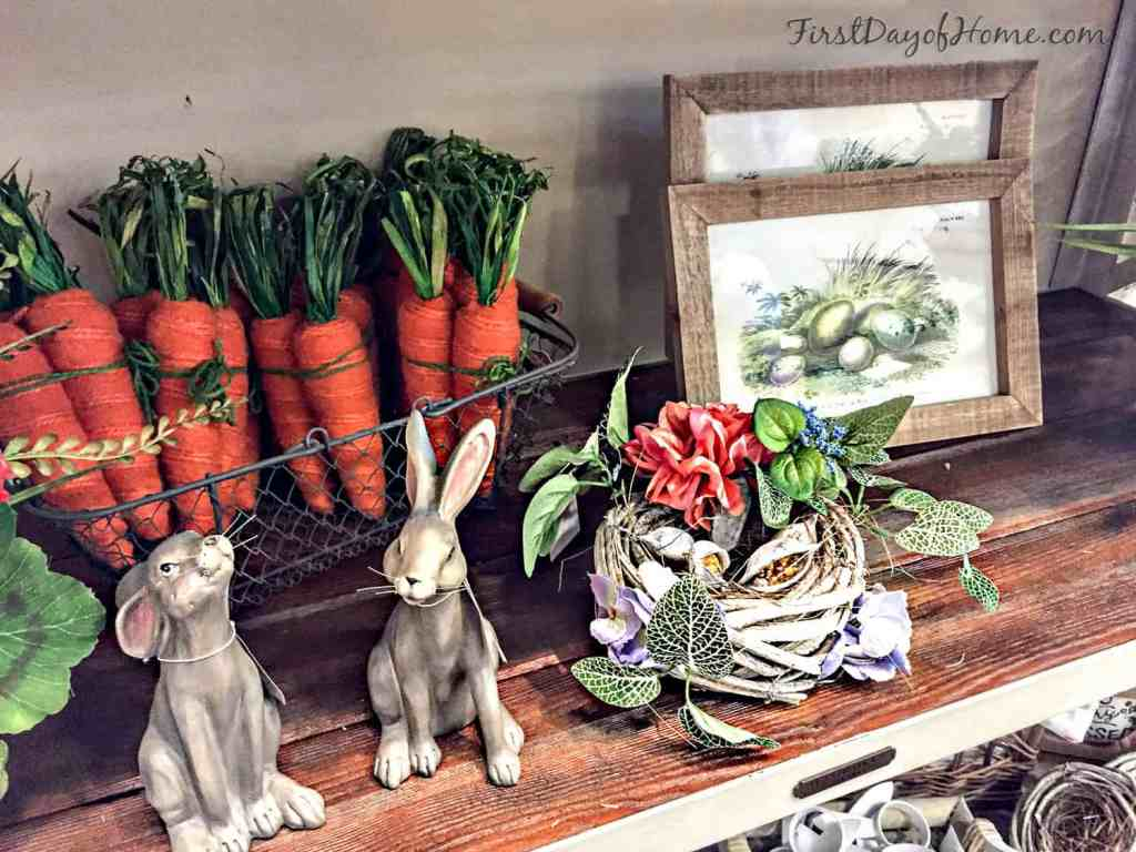 Easter decor with bunnies and nests
