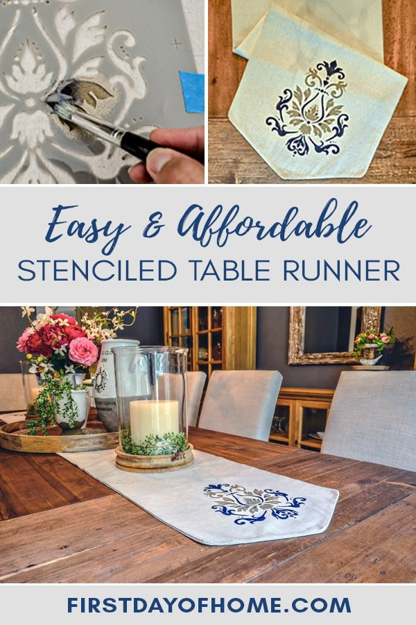 Easy and Affordable Stenciled Table Runner Tutorial