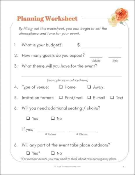 Free Party Planning Printables Worksheet