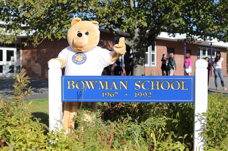 The Bowman School sign with mascot