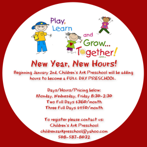New Hours for Children's Ark Preschool