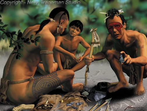 Florida Indians knapping chert to make darts.