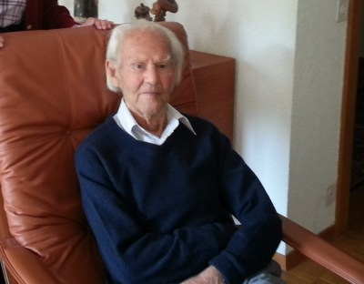 Ralph Young in his Geneva home on his 100th birthday
