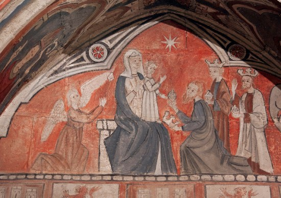 "Detail of a charming medieval wall painting from the tomb of Bishop Rodrigo Díaz (d.1339) in Salamanca's Old Cathedral. Photo title: ""Epiphany"" by Lawrence OP via Flickr released under a Creative Commons Attribution-Noncommercial license."
