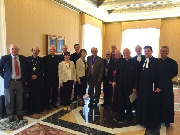 Methodist representatives prepare to meet with Pope Francis on 7 April 2016. Photo courtesy MEOR.