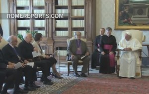 Kirby (at left) meets with Pope Francis along with other Methodists.