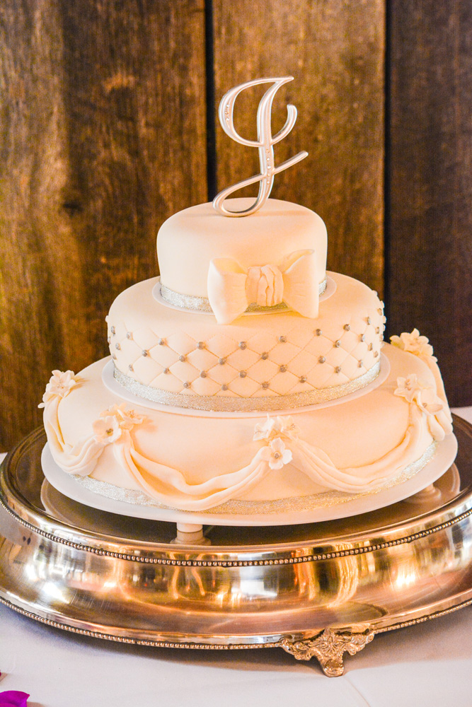 Elegant Vanillabean Fondant Knoxville, TN Wedding Cake with quilting & Fondant Drapes