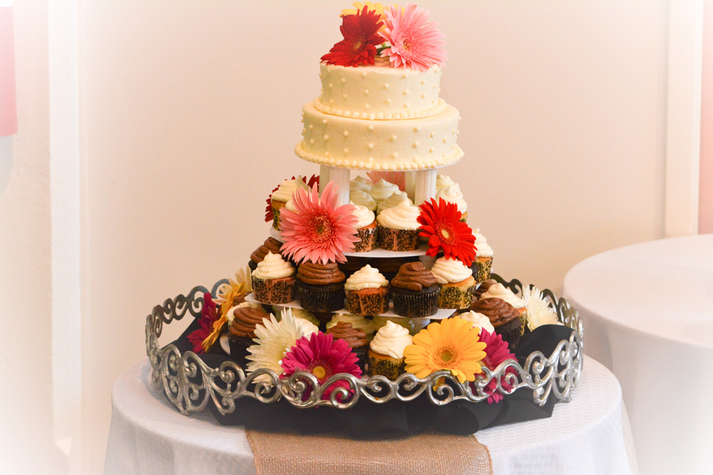 Multiple Flavor Cupcake Knoxville, TN Wedding Cake with two tier topper