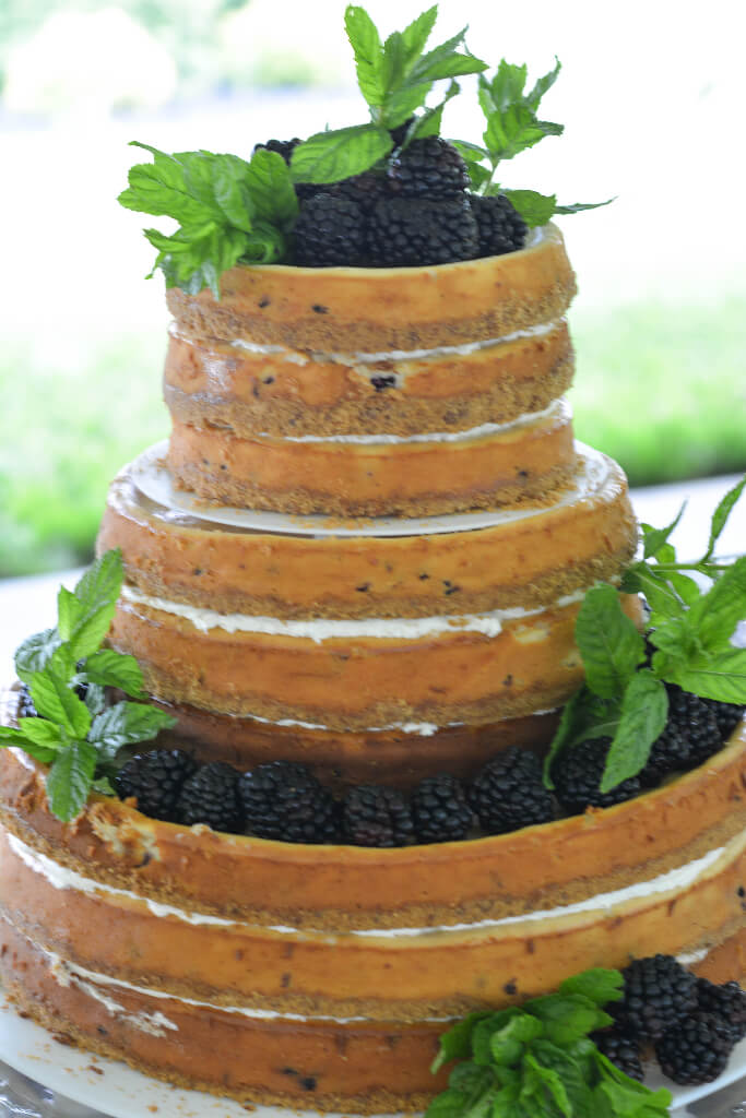 Knoxville Wedding Catering, Naked Cake, Blackberry Naked Wedding Cheesecake