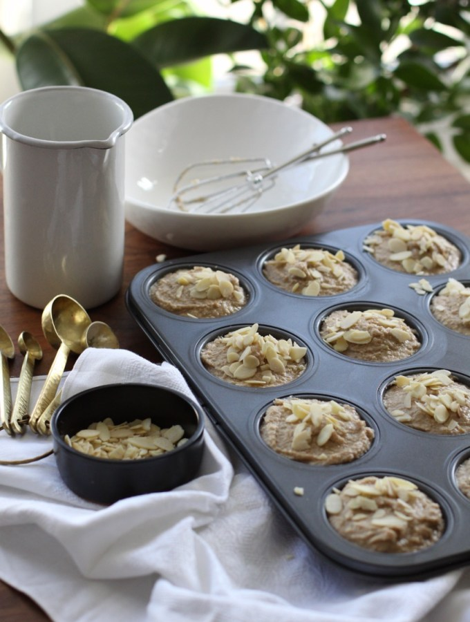 gluten free sugar free breakfast banana and almond muffins. Made with almond flour and buckwheat flour.