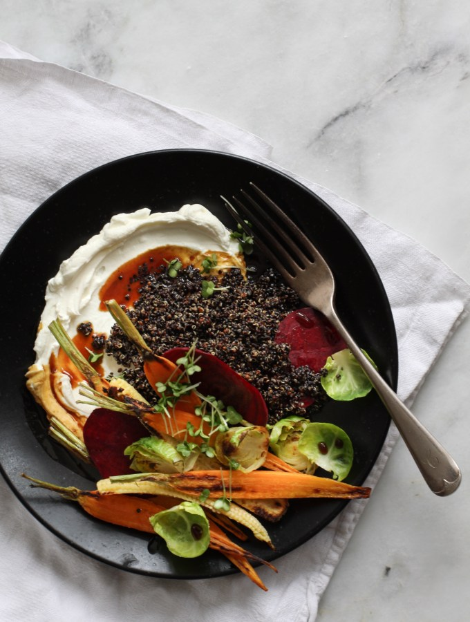Labneh with quinoa risotto and roasted vegetables