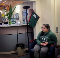 Christy Pedraza, fifth-year student, in the lobby waiting to see EOP Academic Advisor Maria Arvizu-Rodriguez. Photo by Melissa Nunez.