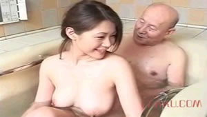Grandpa has a beautiful granddaughter busty bathing him and sucks his cock