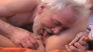 Grandpa has anal sex with her granddaughter in the field