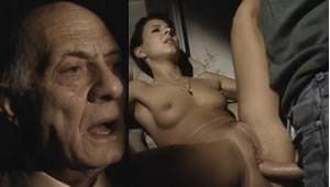 Grandfather looking at his granddaughter as she is forced to have sex