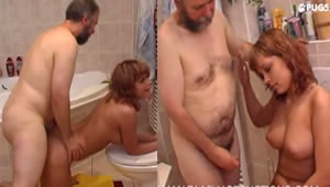 Fucking her daughter in the bathroom in doggy position