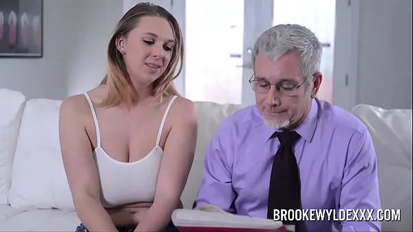 busty daughter giving love lesson to her father