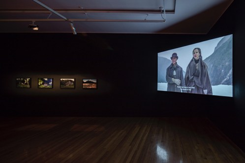 Sasha Huber, Installation view within the Share/Cheat/Unite group exhibition curated by Bruce E. Phillips at the Te Tuhi in 2016. Photo: Sam Hartnett. Courtesy of Te Tuhi, Auckland.