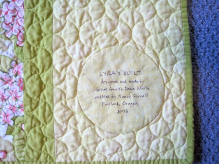 2013-11, Lyra's quilt label 1