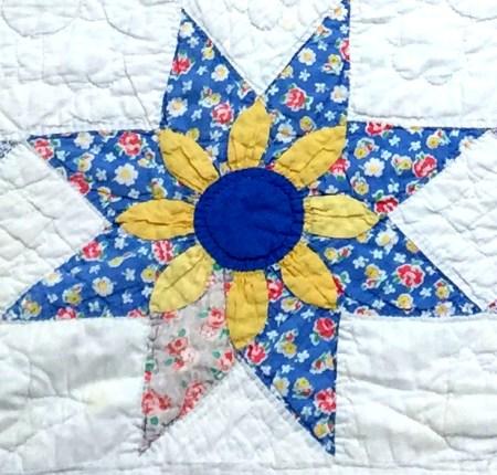 floral star quilt rogue block