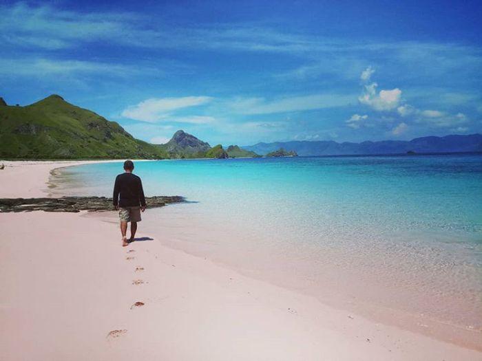 Pemandangan di pantai Pink Lombok, sumber ig mank8379