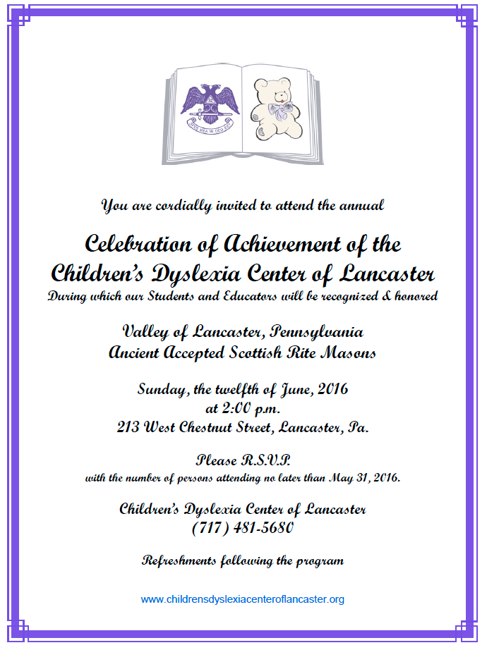 Celebration June 12 Children's Dyslexia Center