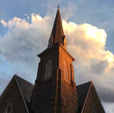 Church steeple against the sky