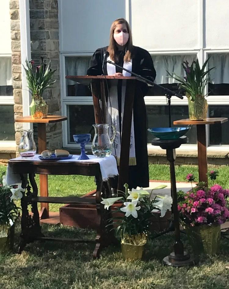 Pastor Melissa preaching on Easter Sunday