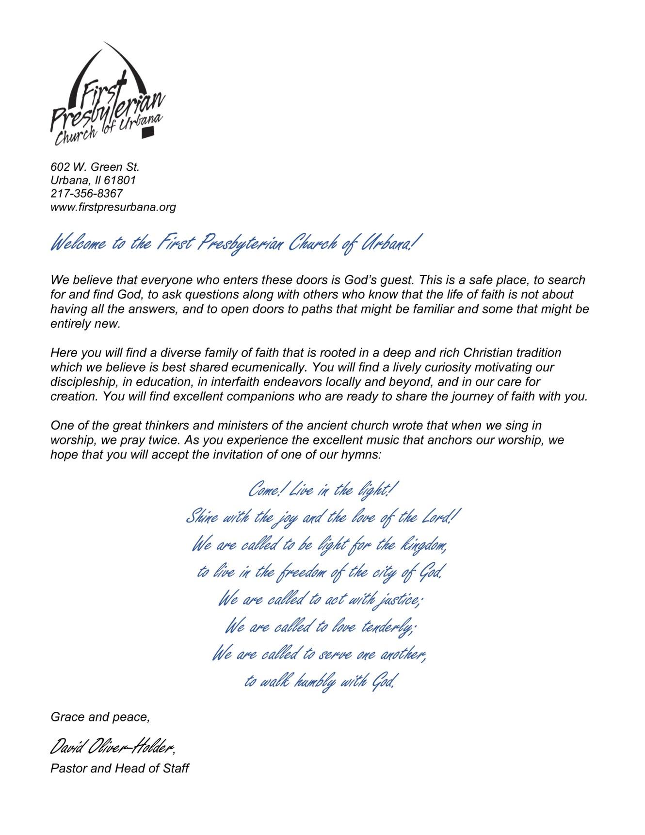 Welcome letter first presbyterian urbana altavistaventures Images